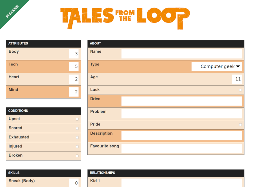 Preview Tales from the loop character sheet