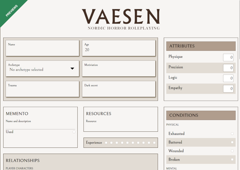 Preview of the Vaesen character sheet